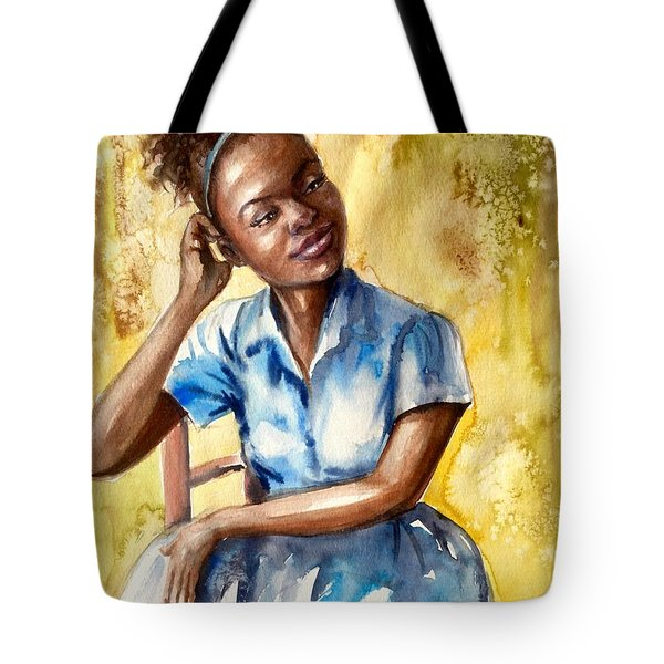 The Girl With The Blue Dress Tote Bag