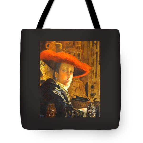 The Girl With The Red Hat After Jan Vermeer Tote Bag