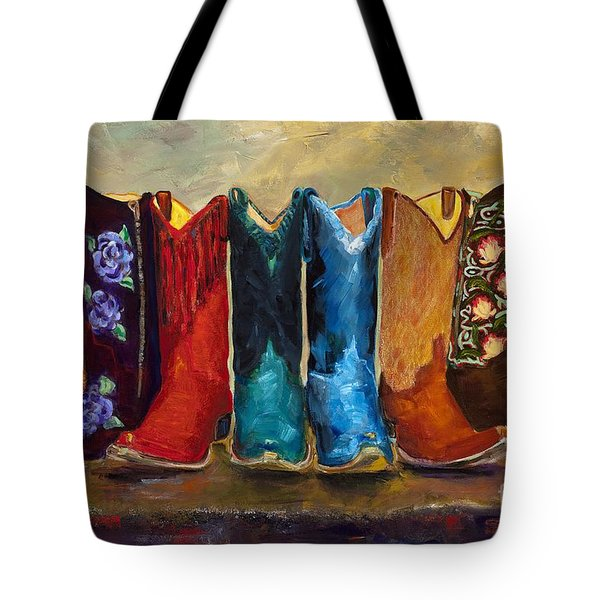 The Girls Are Back In Town Tote Bag by Frances Marino