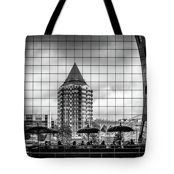 Tote Bag featuring the photograph The Glass Windows Of The Market Hall In Rotterdam by RicardMN Photography