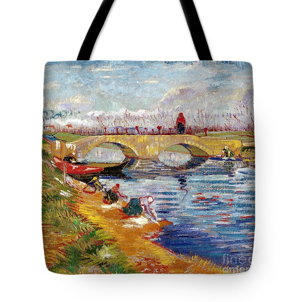 The Gleize Bridge Over The Vigneyret Canal  Tote Bag by Vincent van Gogh