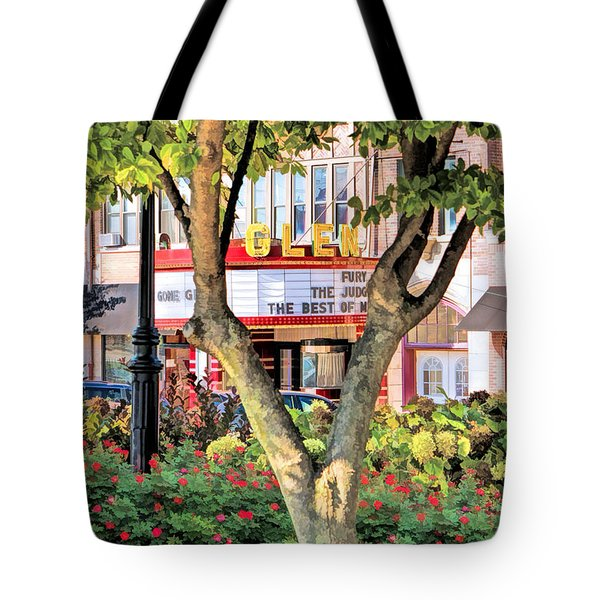 Tote Bag featuring the painting The Glen Movie Theater by Christopher Arndt