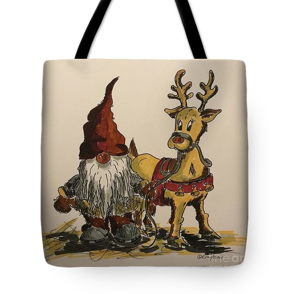 The Gnome And His Reindeer Tote Bag