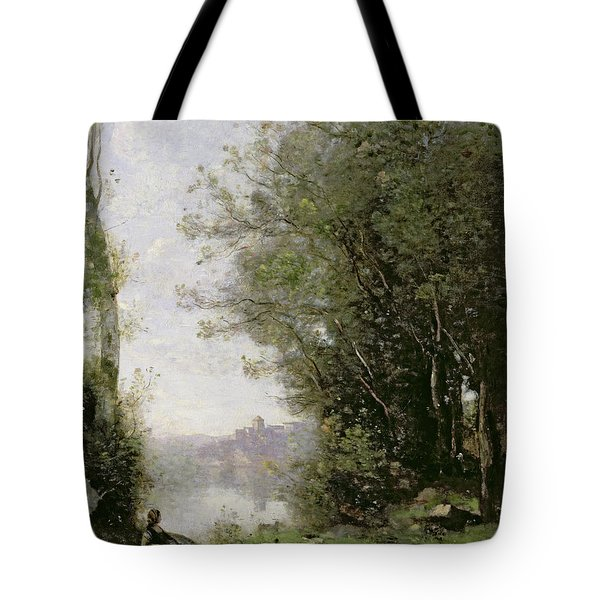 The Goatherd Beside The Water  Tote Bag by Jean Baptiste Camille Corot