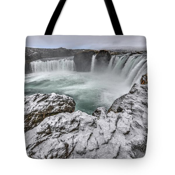 The Godafoss Falls In Winter Tote Bag