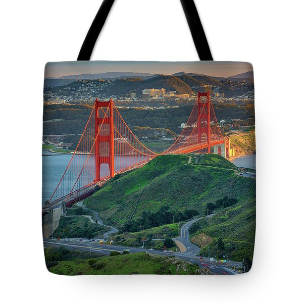 The Golden Gate At Sunset Tote Bag