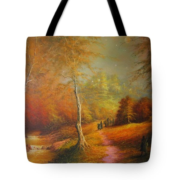 Golden Forest Of The Elves Tote Bag