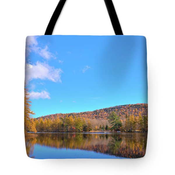 Tote Bag featuring the photograph The Golden Tamaracks Of Woodcraft Camp by David Patterson