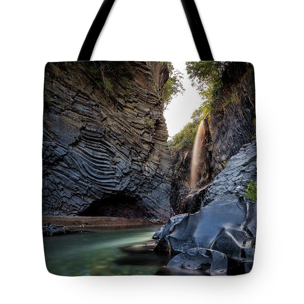 The Golden Waterfall Tote Bag