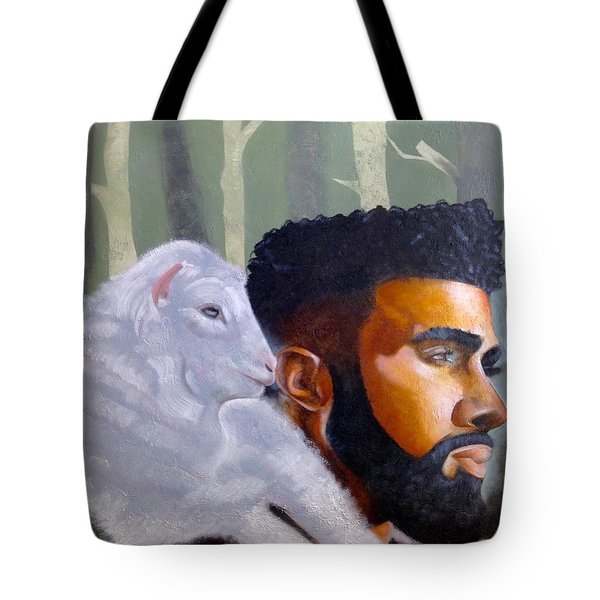Tote Bag featuring the painting The Good Shepherd  by Christopher Marion Thomas