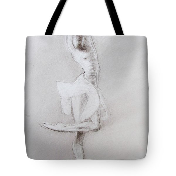 Tote Bag featuring the drawing The Grace Of The Dance by Jarko Aka Lui Grande