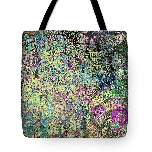 Tote Bag featuring the photograph The Graffiti Wall - Verona, Italy by Merton Allen