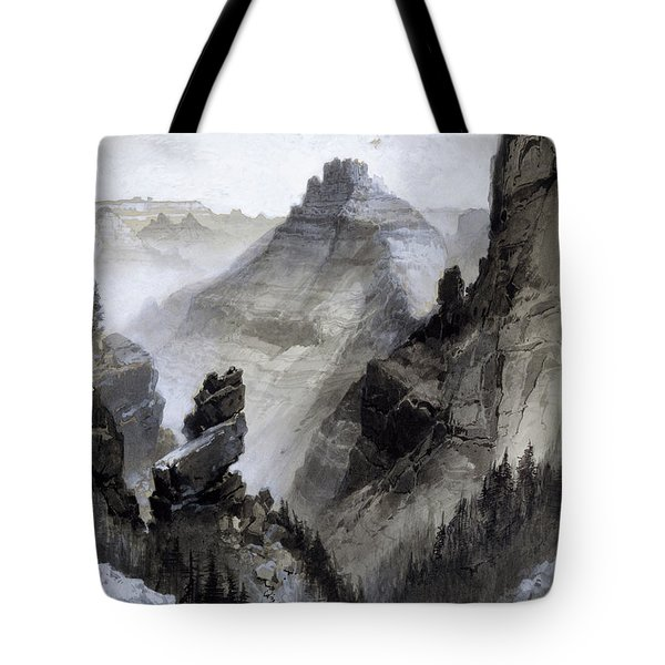 Tote Bag featuring the drawing The Grand Canyon Drawing            by Thomas Moran