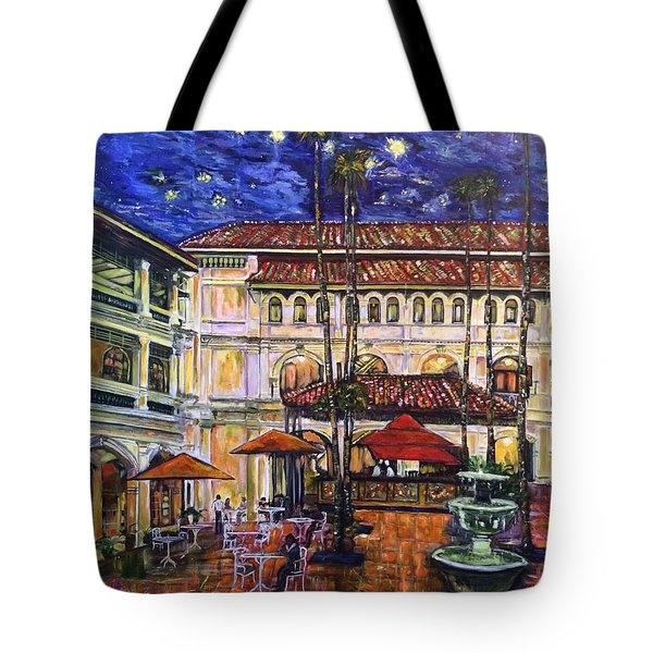 Tote Bag featuring the photograph The Grand Dame's Courtyard Cafe  by Belinda Low