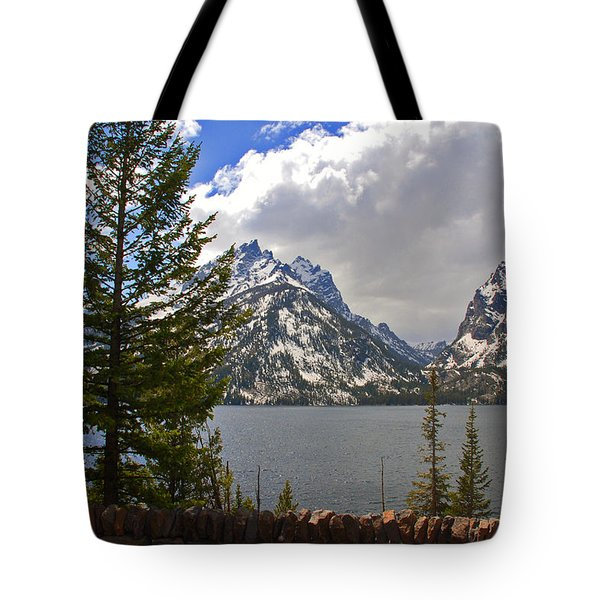 The Grand Tetons And The Lake Tote Bag by Susanne Van Hulst