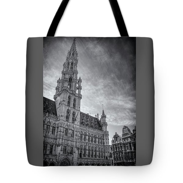 The Grandeur Of The Grand Place Brussels In Black And White  Tote Bag