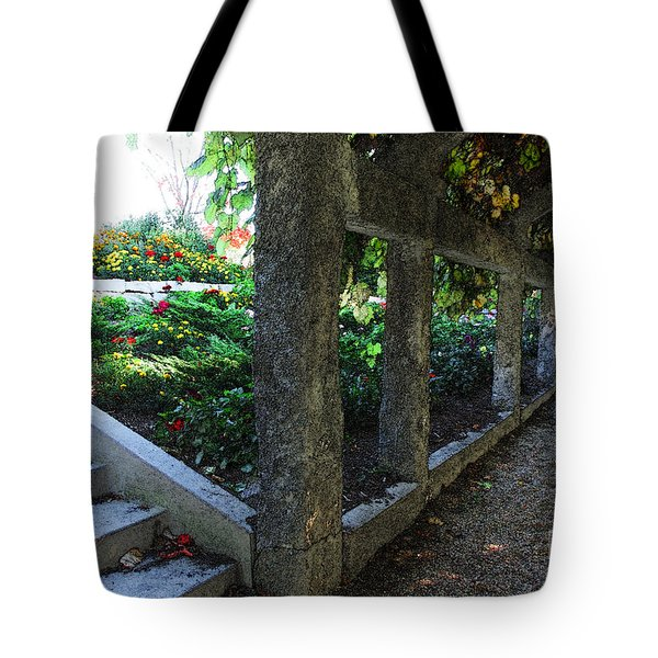 Tote Bag featuring the digital art The Grape Arbor Path by David Blank