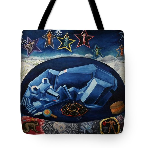 Tote Bag featuring the painting The Great Bear Sleeps At The Edge Of The World by Dawn Senior-Trask