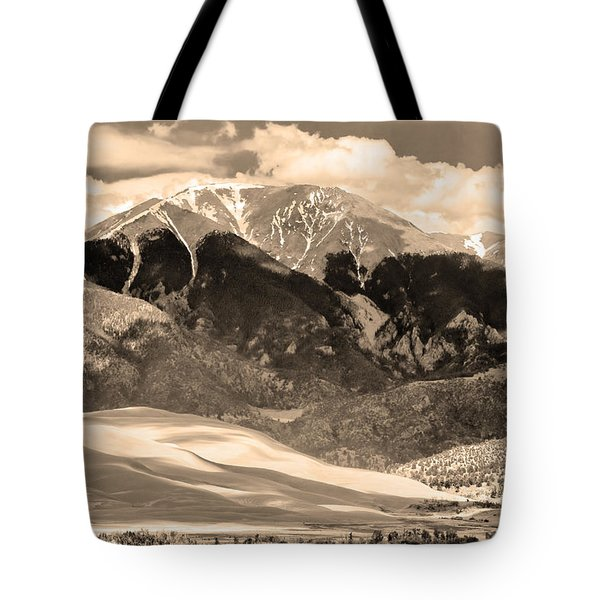 The Great Colorado Sand Dunes In Sepia Tote Bag by James BO  Insogna