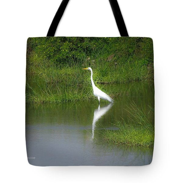 Great Egret By The Waters Edge Tote Bag