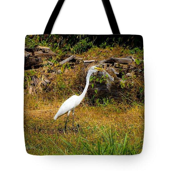 Egret Against Driftwood Tote Bag