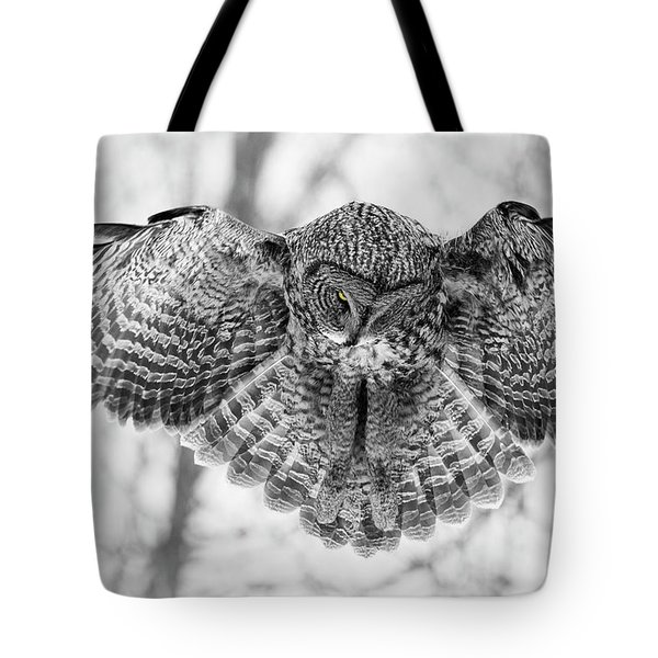 Tote Bag featuring the photograph The Great Grey Owl In Black And White by Mircea Costina Photography