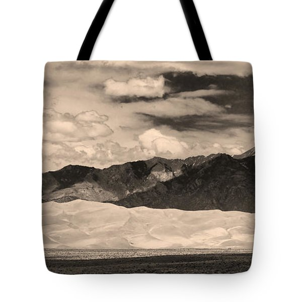 The Great Sand Dunes Panorama 2 Sepia Tote Bag by James BO  Insogna