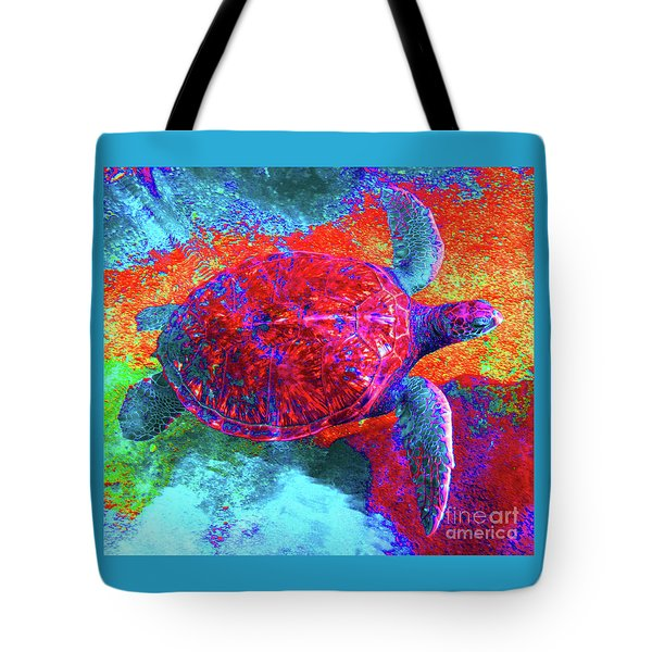 The Great Sea Turtle In Abstract Tote Bag