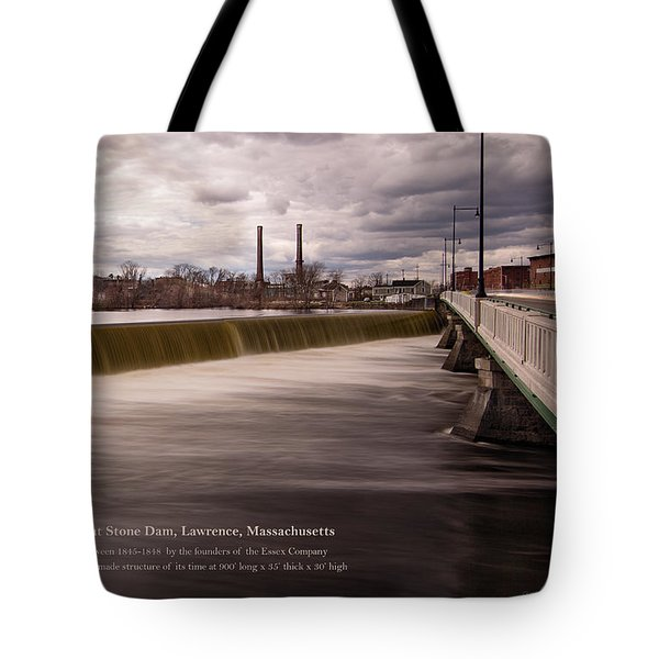 The Great Stone Dam Lawrence, Massachusetts Tote Bag