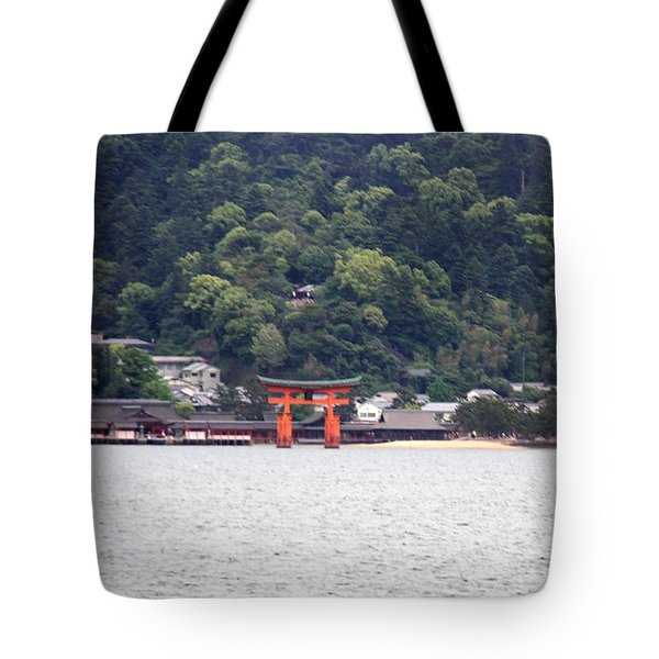 Tote Bag featuring the photograph The Great Torii In Distance by Yumi Johnson