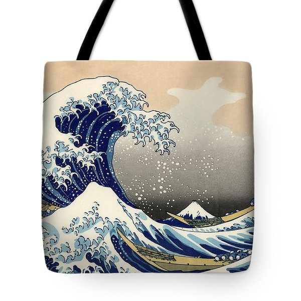 The Great Wave Off Kanagawa Tote Bag by Katsushika Hokusai