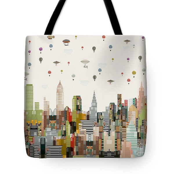 Tote Bag featuring the painting The Great Wondrous Balloon Race by Bri B
