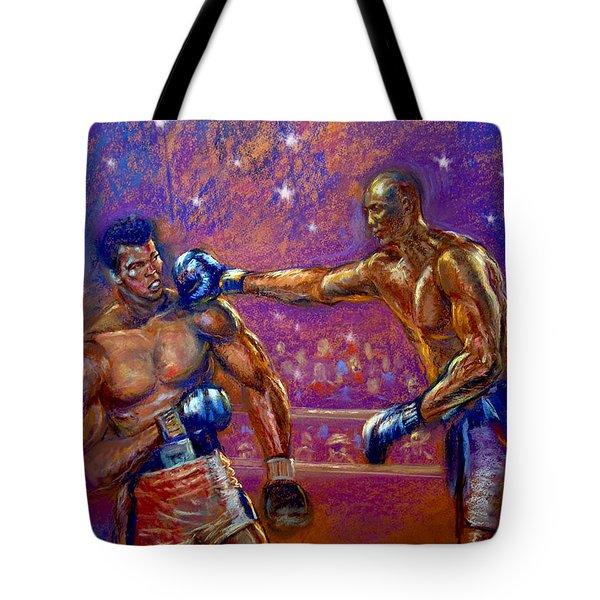the Greatest  Muhammed Ali vs Jack Johnson Tote Bag by Tommy  Winn