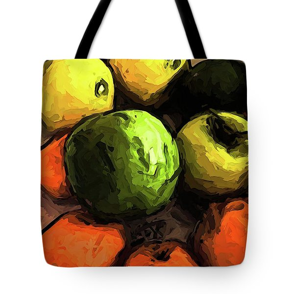 The Green And Gold Apples With The Orange Mandarins Tote Bag