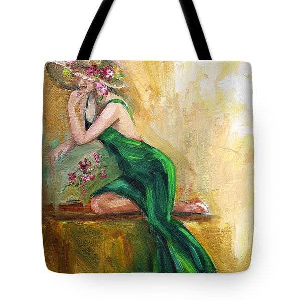Tote Bag featuring the painting The Green Charmeuse  by Jennifer Beaudet