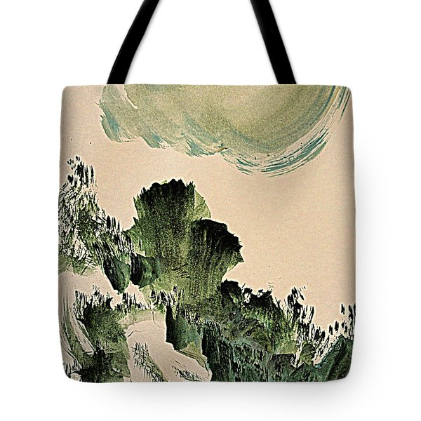 The Green Cliffs With A Cloud Tote Bag