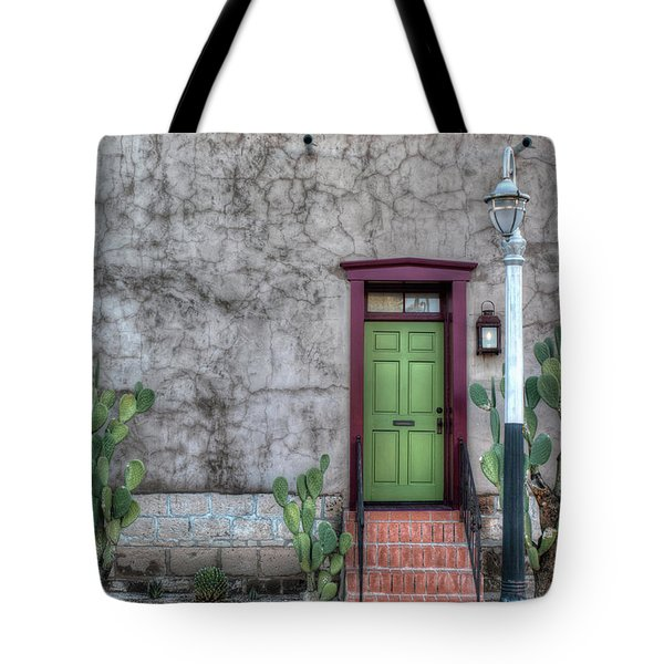 Tote Bag featuring the photograph The Green Door by Lynn Geoffroy