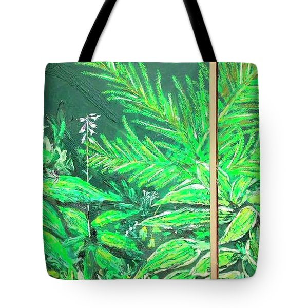 Tote Bag featuring the painting The Green Flower Garden by Darren Cannell