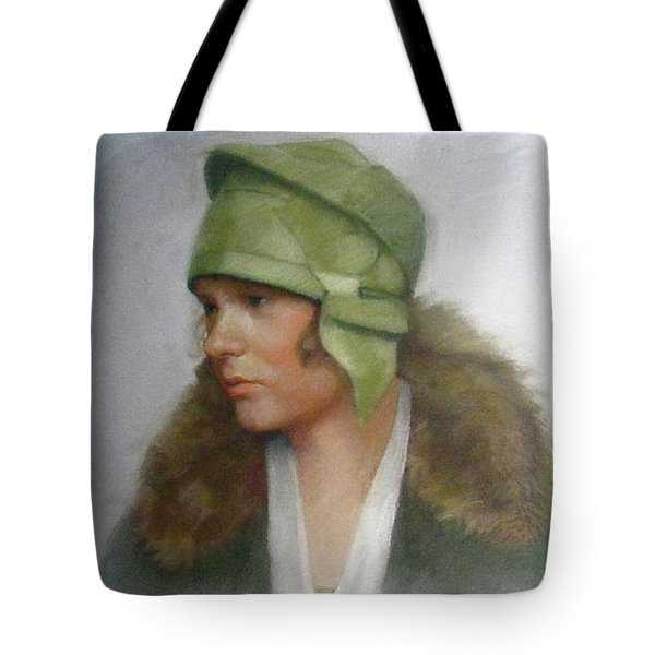 The Green Hat Tote Bag by Janet McGrath