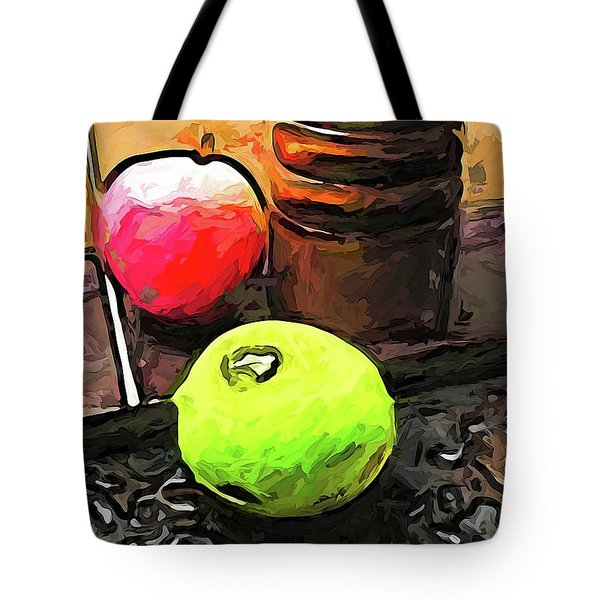 The Green Lime And The Apple With The Pepper Mill Tote Bag