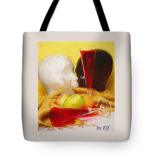 Tote Bag featuring the digital art The Green Pear by Elf Evans