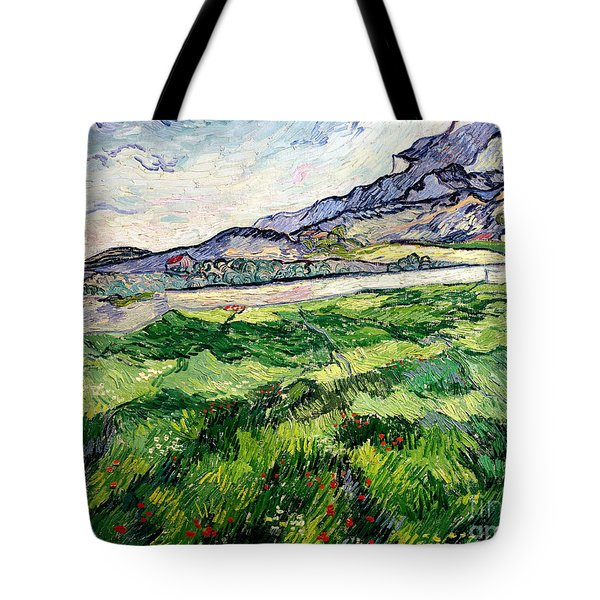 The Green Wheatfield Behind The Asylum Tote Bag by Vincent van Gogh