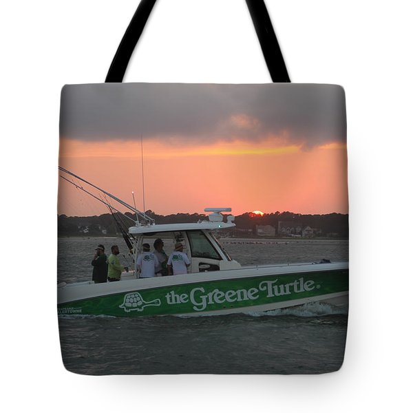 The Greene Turtle Power Boat Tote Bag by Robert Banach