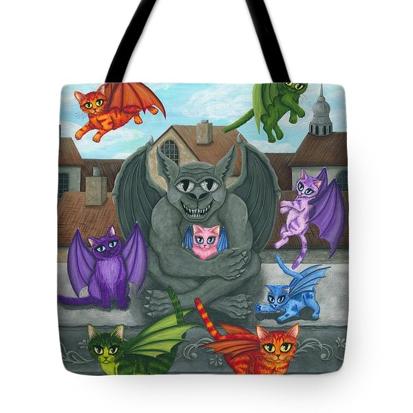 The Guardian Gargoyle Aka The Kitten Sitter Tote Bag