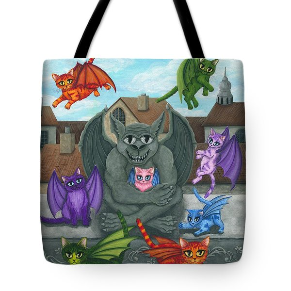 Tote Bag featuring the painting The Guardian Gargoyle Aka The Kitten Sitter by Carrie Hawks