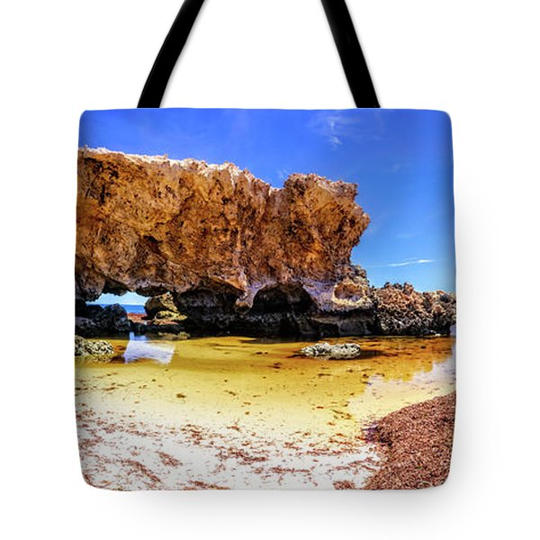 Tote Bag featuring the photograph The Guardian, Two Rocks by Dave Catley