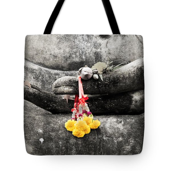 Tote Bag featuring the photograph The Hand Of Buddha by Adrian Evans