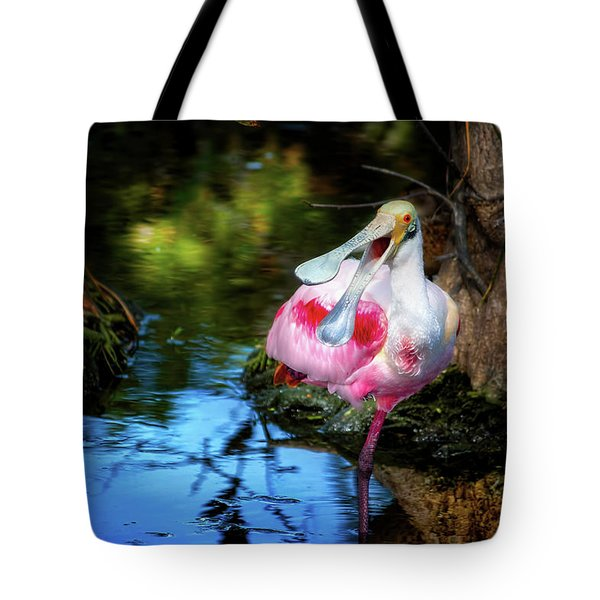 The Happy Spoonbill Tote Bag by Mark Andrew Thomas