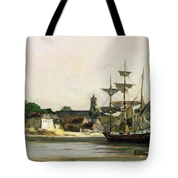 The Harbour At Honfleur Tote Bag by Karl Pierre Daubigny