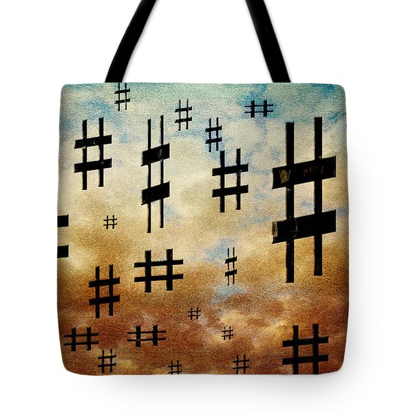 Tote Bag featuring the digital art The Hashtag Storm by Andee Design